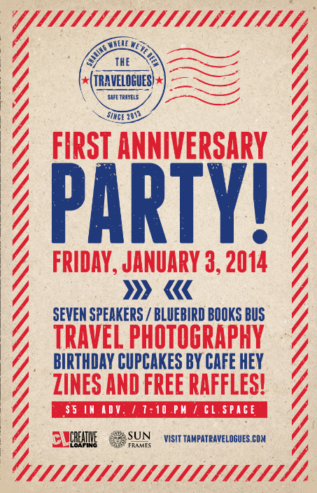 Travelogues Anniversary Party Poster